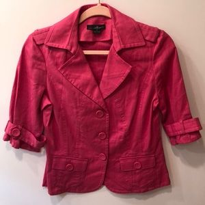Willi Smith Pink Cropped Quarter-Sleeve Jacket